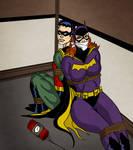 Batgirl and Robin tied up