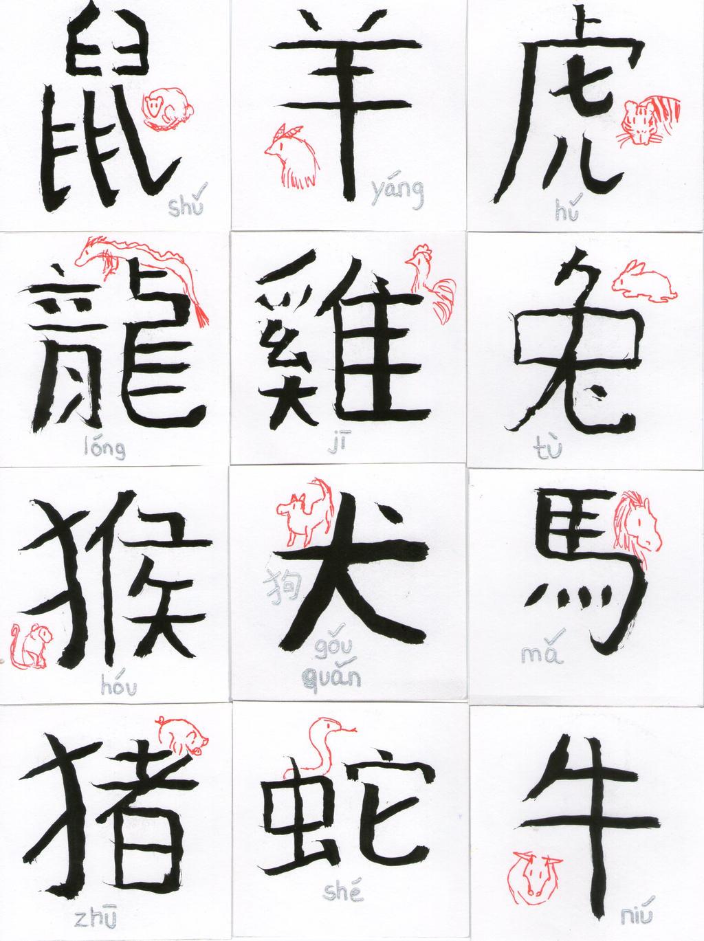 12 Zodiac Animals Chinese Symbols Pronounciation By Haru272 On