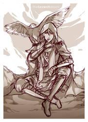 Sketch - Izrail, Angel of Death by PinkStripedMellon