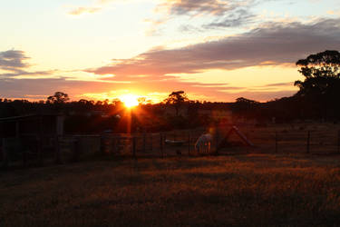 A Nagambie farm sunset by misguidedRainbows