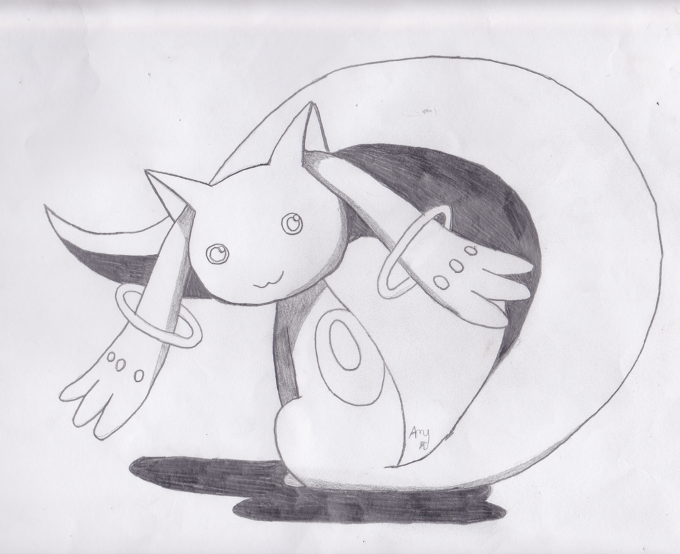 Kyubey From Madoka Magica Drawing By Crazycoolkitty