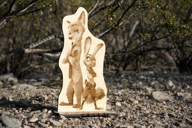 Zootopia - Nick and Judy back-to-back laser cut by Earth-Pony