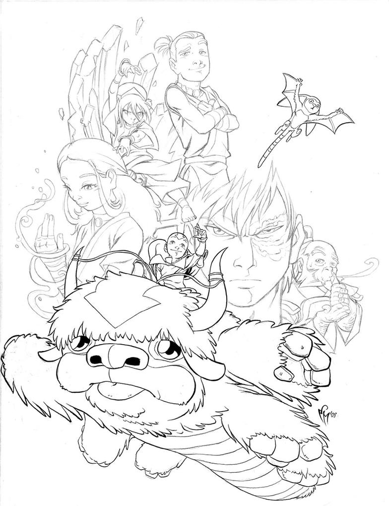 The last airbender lineart by marcelperez on deviantart for Avatar the last airbender coloring pages