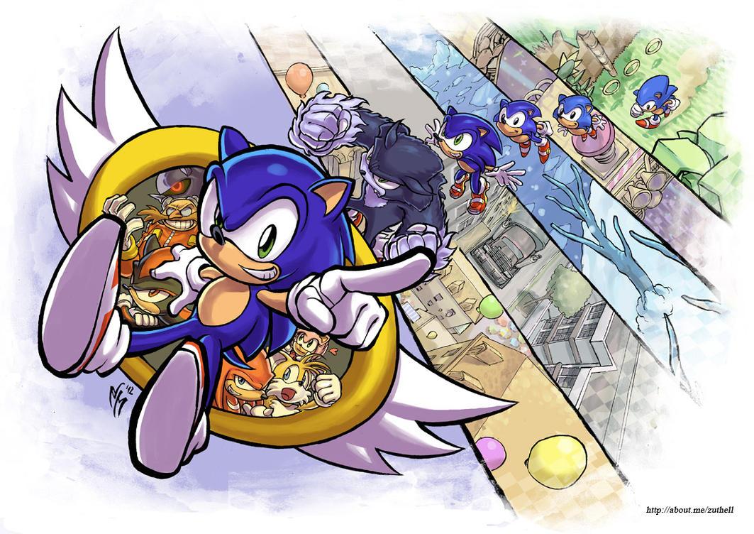 Sonic the hedgehog anniversary poster by marcelperez on deviantart
