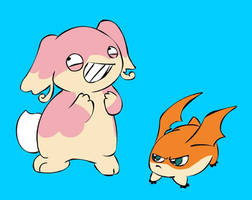 Patamon and Audino by LordBoop