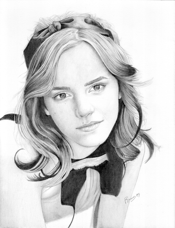 how to draw emma watson slowly