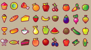 Food  fruits vegetables set by Vikasuperstar