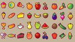 Food  fruits vegetables set