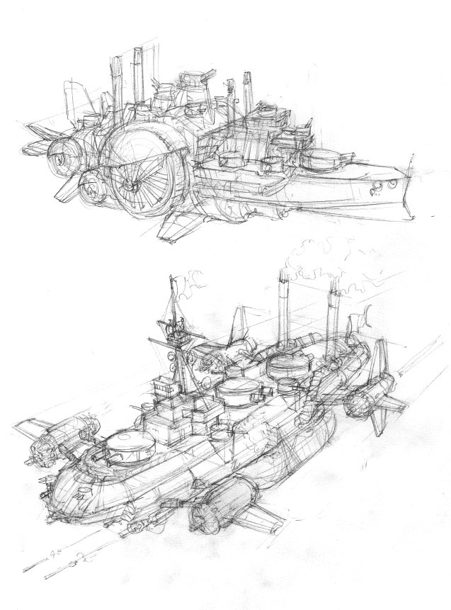 Airship sketches 1 by JanBoruta