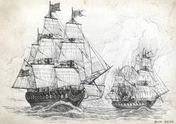 Frigate skirmish by JanBoruta