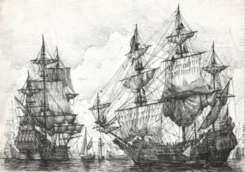 Dutch ships at anchor by JanBoruta