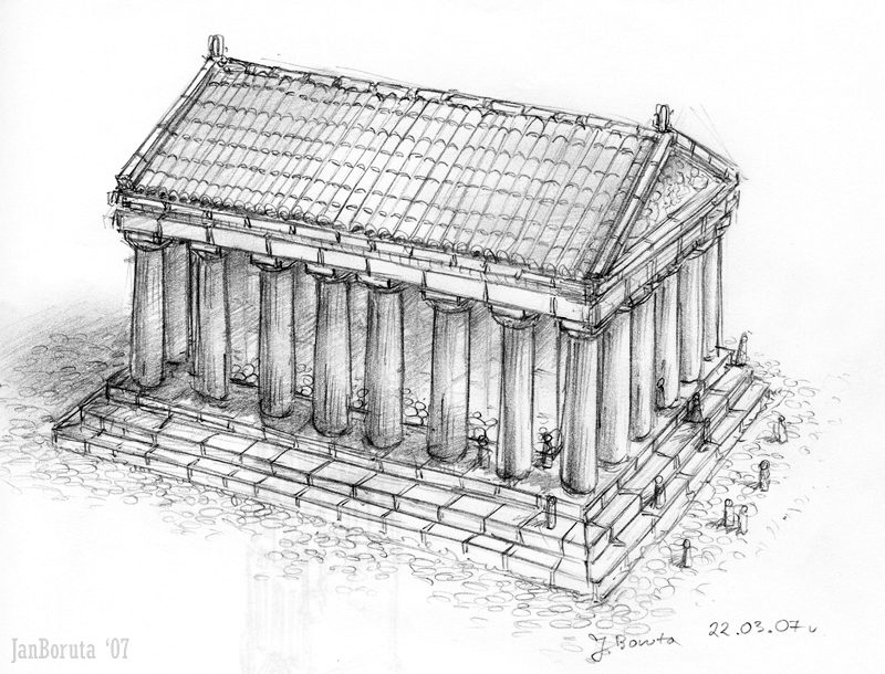How to draw a greek temple