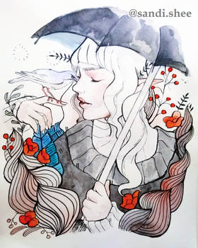 White haired girl with parasol watercolor painting