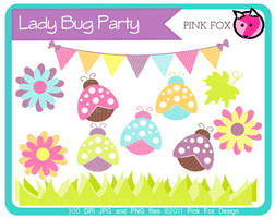 Lady bug party clip art by pinkfoxdesign