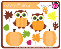 owl clip art by pinkfoxdesign