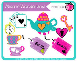 alice in wonderland teaparty clip art by pinkfoxdesign