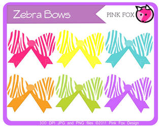 Zebra bow clipart by pinkfoxdesign