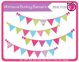 whimsical bunting banner clip art by pinkfoxdesign