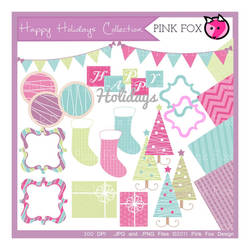 holiday scrapbook kit - clip art set