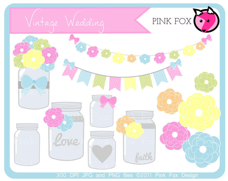 Vintage mason jars clip art by pinkfoxdesign