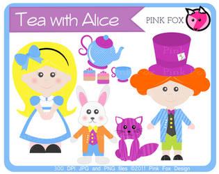 Alice in Wonderlana inspired clip art by pinkfoxdesign