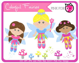 Colorful Fairy clip art by pinkfoxdesign