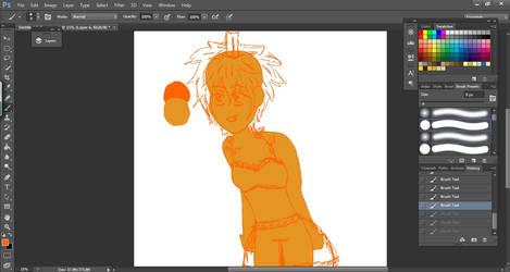 Pumpkin Girl WIP by APerfectDarkness