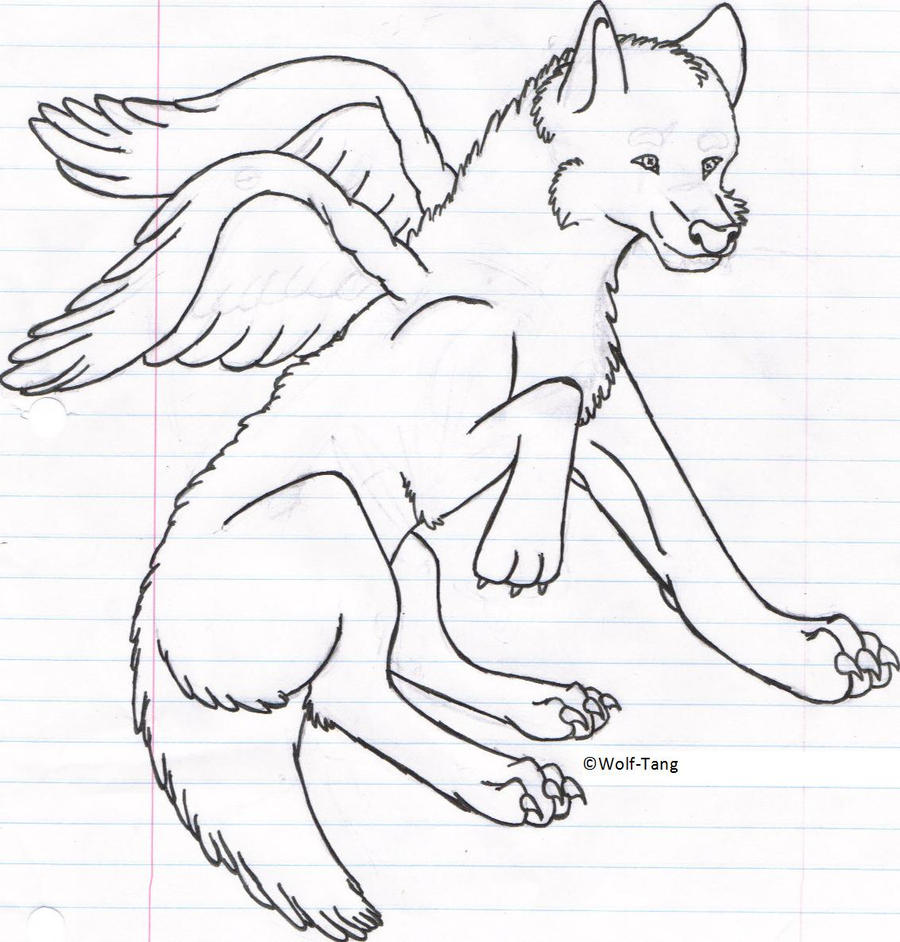 winged wolf lineart by wolftang on deviantart
