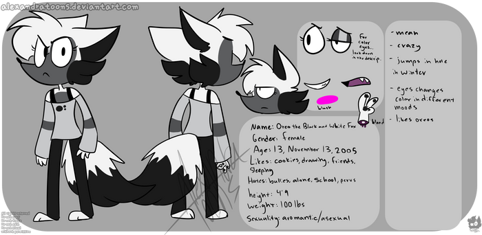 Oreo the Black and White Fox ref sheet by AlexandraToons