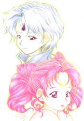 Helios and Chibiusa by moespinel