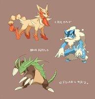 Pokemon X Y Starter Entwicklungen by serpifeulover