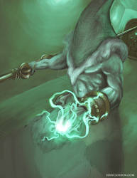 Green Wizard Character Illustration by SeanClosson
