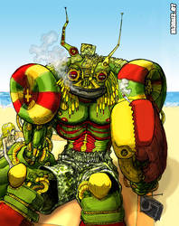 Rasta robot on the beach by Manu-2005