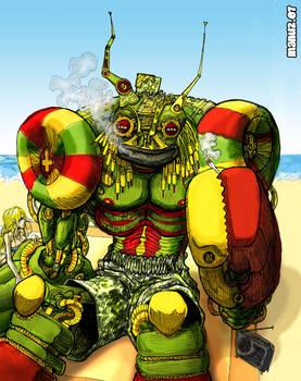 Rasta robot on the beach