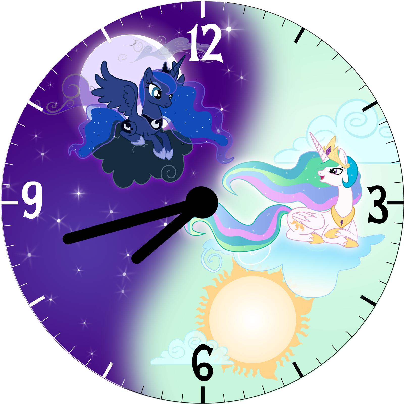 Luna And Celestia Wall Clock Face By Trebory6 On Deviantart