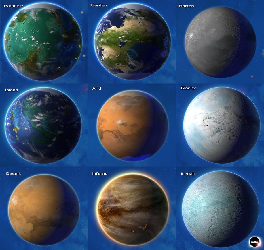 Stars in Shadow: Planet Types by AriochIV on DeviantArt