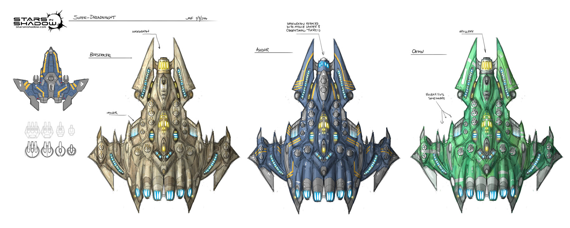 Stars in Shadow: Super Dreadnought Thumbnails by AriochIV