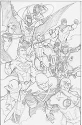 Justice League pencils by CrimeRoyale