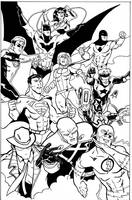 Justice League inks by CrimeRoyale