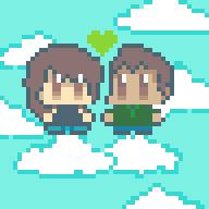 Cute pixel couple by JellyBunnieBean