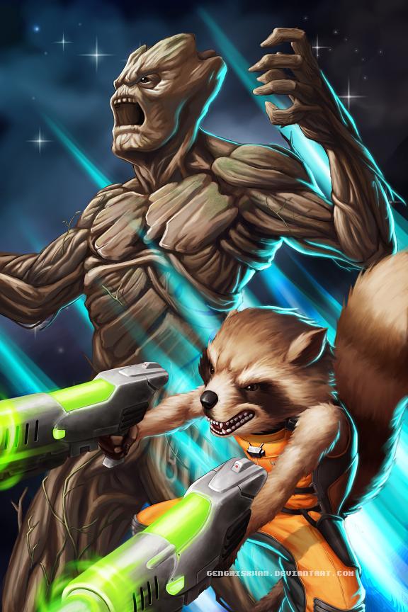 Star Lord And Rocket Raccoon By Timothygreenii On Deviantart: Rocket Raccoon And Groot By GenghisKwan On DeviantArt
