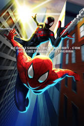 Spider-Man Peter Parker and Miles Morales