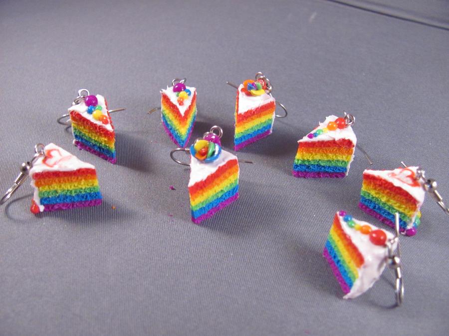 Rainbow Cake Earrings by spongekitty
