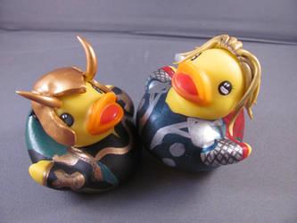 Thor and Loki Ducks by spongekitty