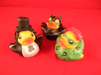 The Penguin, The Riddler, and Catwoman ducks