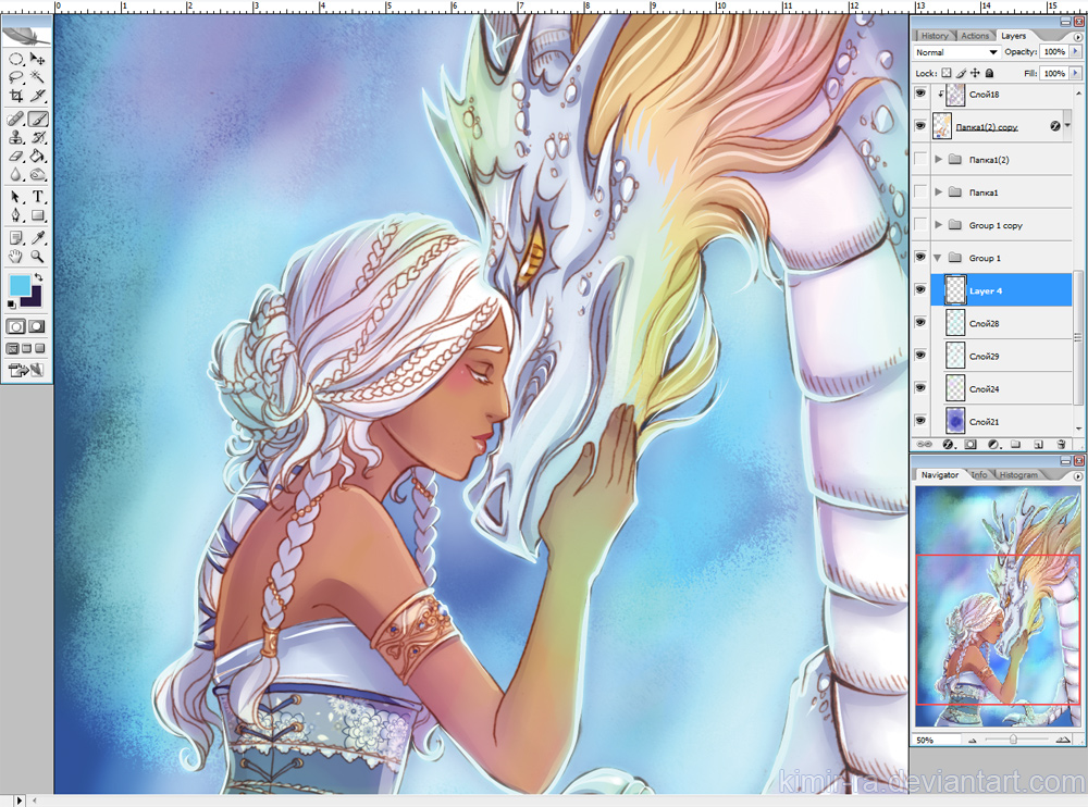 WIP: Princess and dragon by Kimir-Ra