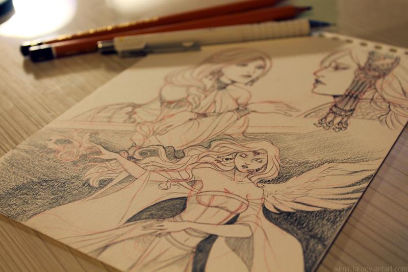 Aminael sketchpage wip by Kimir-Ra