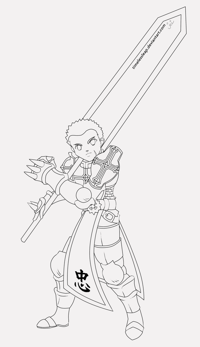 Line Drawing Knight : Lord knight lineart by timelessleap on deviantart