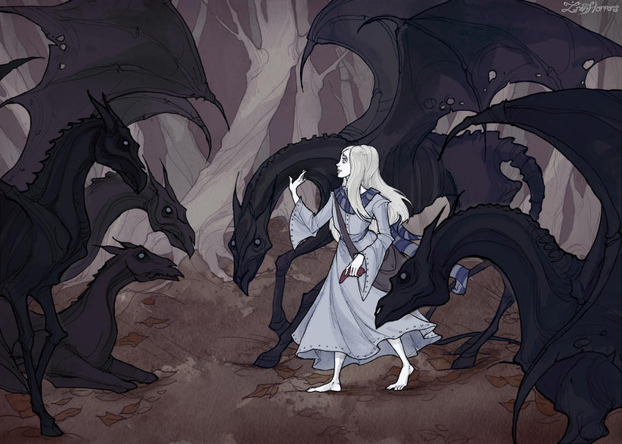 Luna and Thestrals by IrenHorrors
