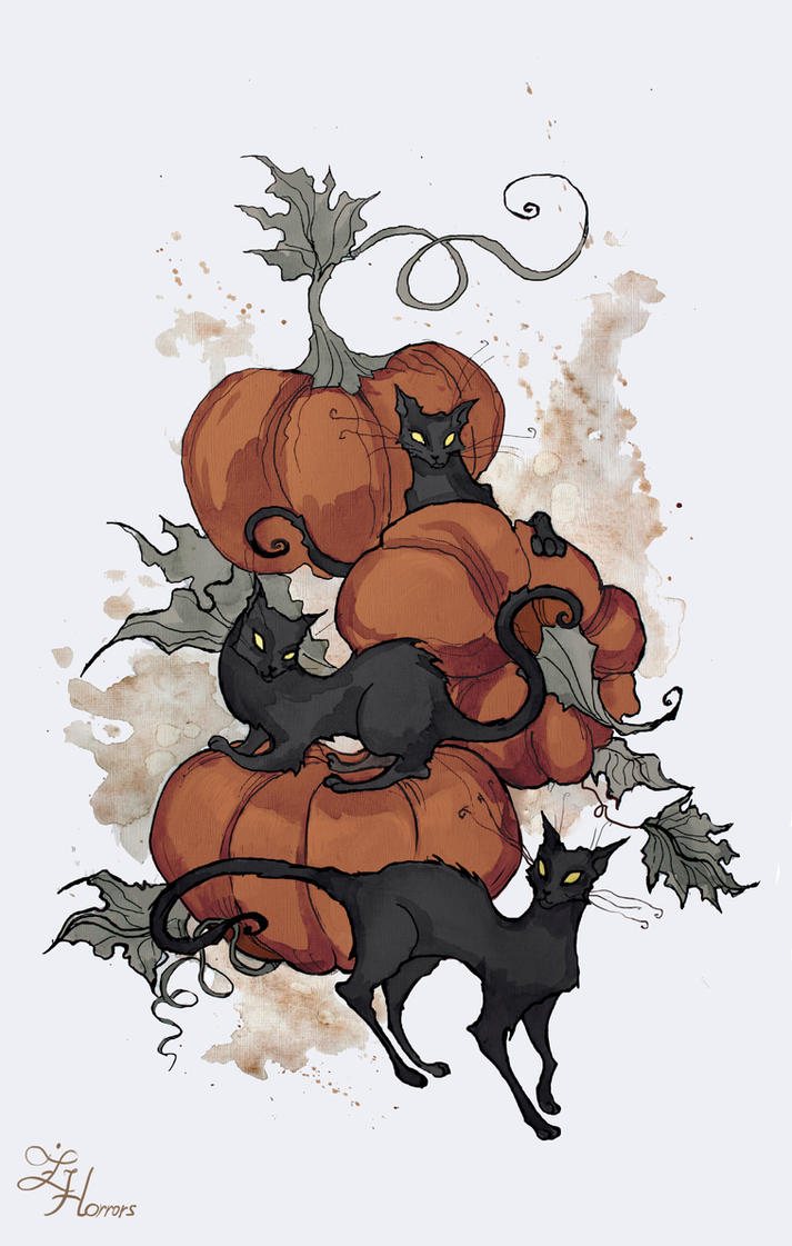 Halloween Kitties by IrenHorrors